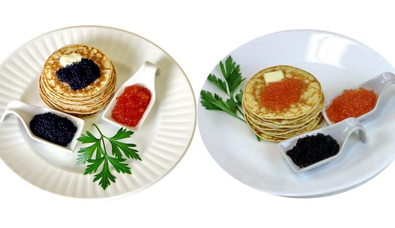 Pancakes with Seaweed Vegetarian/Vegan Red or Black Caviar