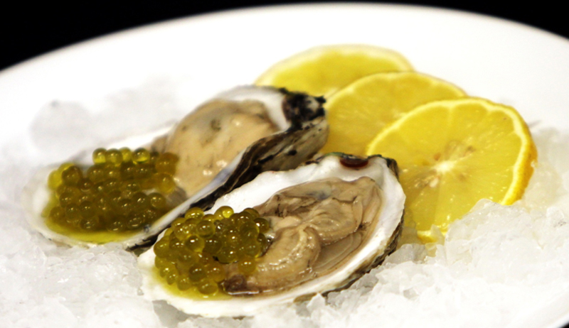 Oysters with Lemon Olive Pearls